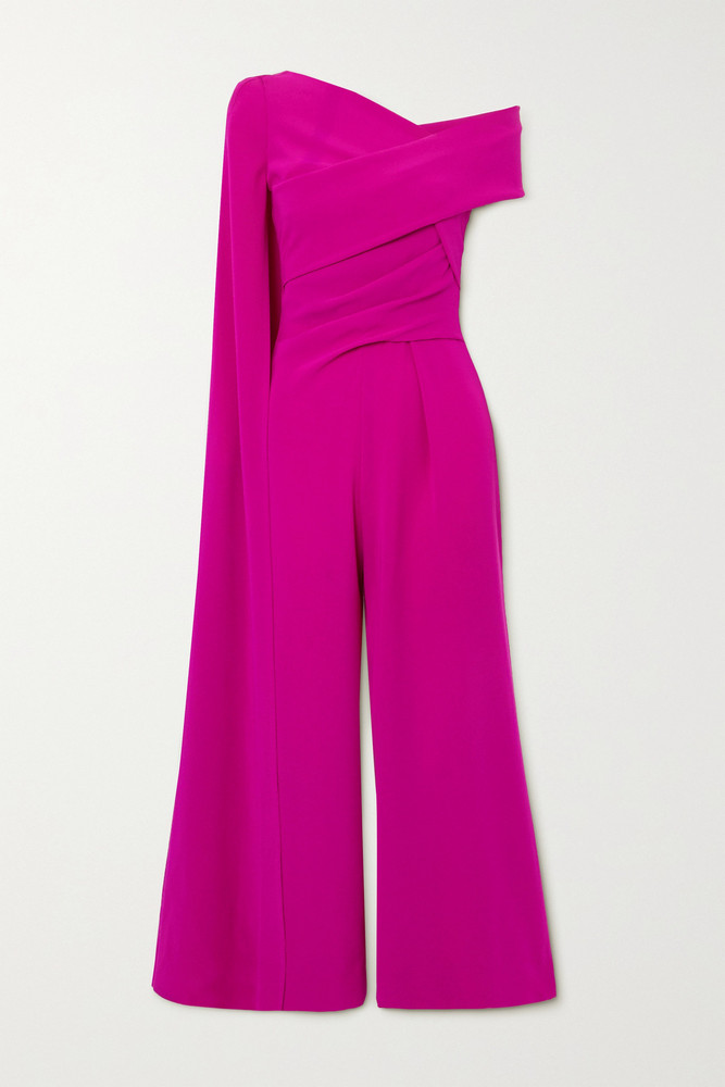 TALBOT RUNHOF - Cape-effect Gathered Crepe Jumpsuit - US12 in red
