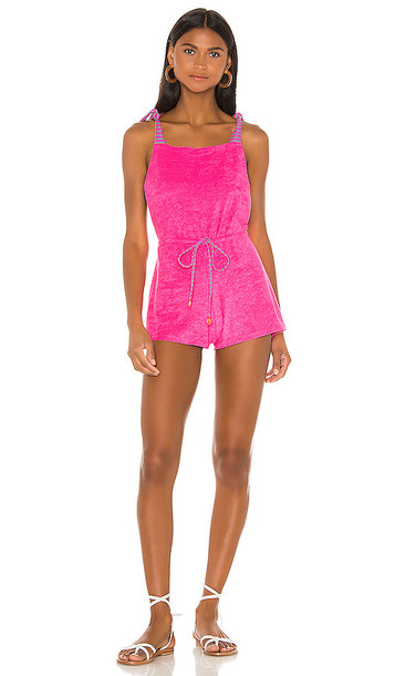 Luli Fama Adjustable Shorts Romper in Pink