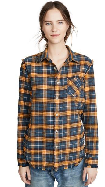 R13 Shredded Seam Shirt in blue / yellow