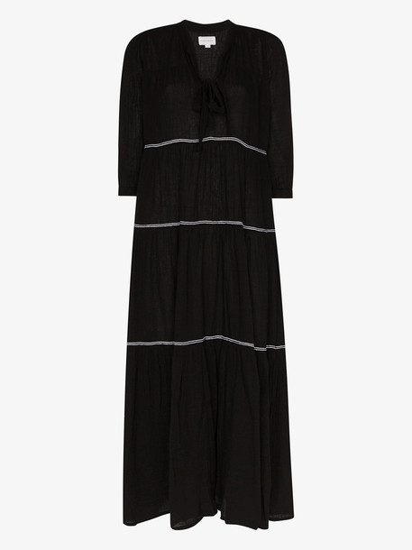 Honorine Giselle tiered maxi dress in black