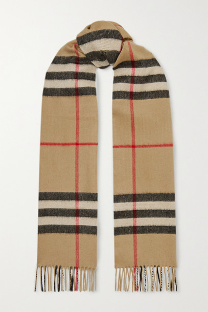 BURBERRY - + Net Sustain Fringed Checked Cashmere Scarf - Brown