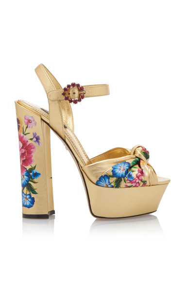 Dolce & Gabbana Knotted Floral-Print Metallic Leather Platform Sandals in gold
