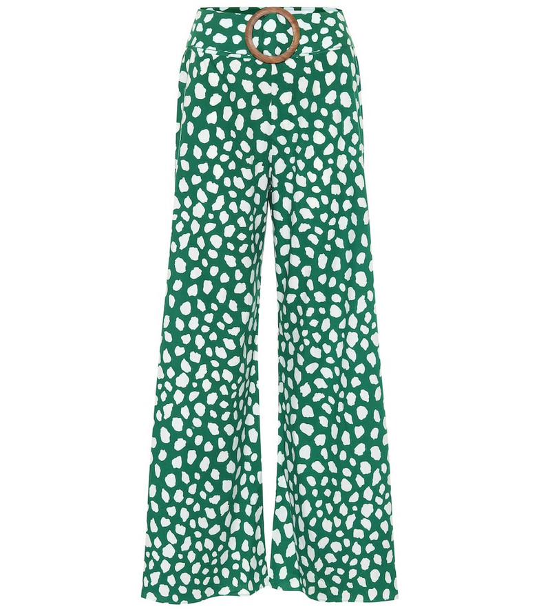 Alexandra Miro Exclusive to Mytheresa – Claudia high-rise printed cotton flared pants in green
