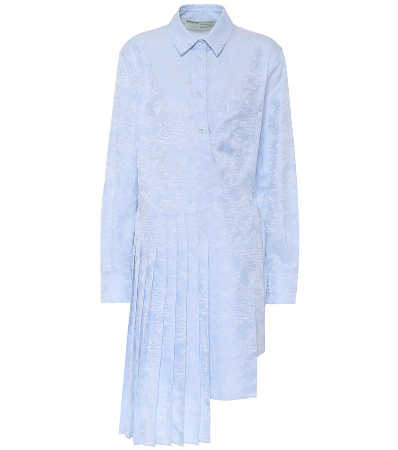 Off-White Waves jacquard cotton shirt dress in blue