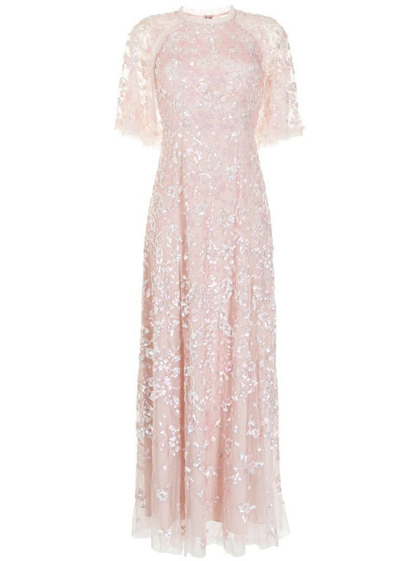 Needle & Thread Sequin Ribbon embellished gown in pink