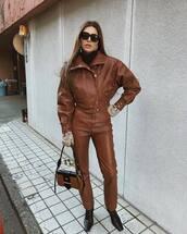jacket,leather jacket,brown jacket,leather pants,black boots,brown bag,black turtleneck top,gloves,black sunglasses
