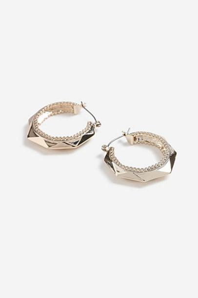Topshop Octagon Hoop Earrings - Gold