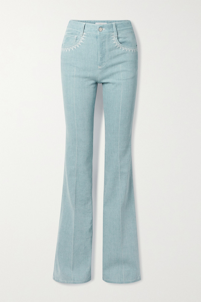 Chloé Chloé - Embroidered High-rise Flared Jeans - Blue