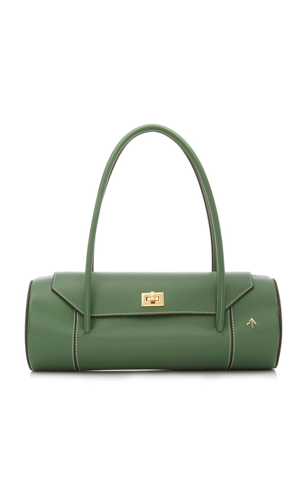 Manu Atelier Cylinder Leather Shoulder Bag in green