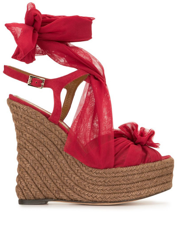 Fendi Pre-Owned tie-ankle wedge espadrilles in pink