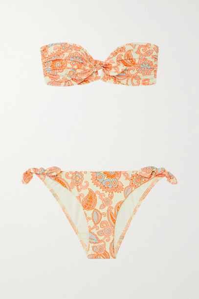 Zimmermann - Peggy Paisley-print Bandeau Bikini - Orange