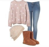 polka dots,knitted beanie,ugg boots,jeans