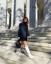 shoes,white boots,knee high boots,black blazer,turtleneck dress,black bag