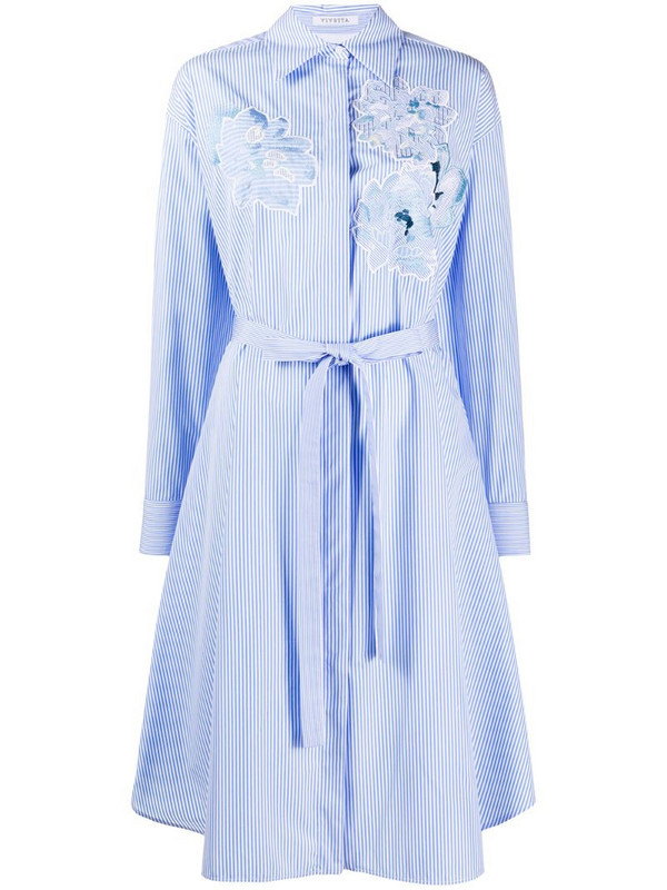 Vivetta embroidered striped shirt dress in blue