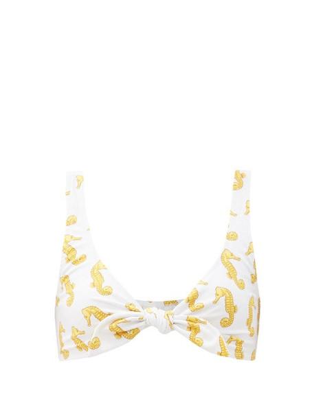 Fisch - Lurin Seahorse-print Tie-front Bikini Top - Womens - White Multi