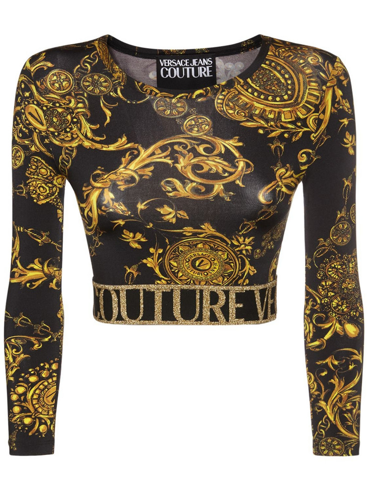 VERSACE JEANS COUTURE Baroque Print Jersey Cropped Top in black / gold