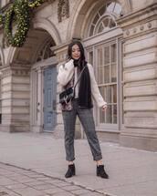 pants,high waisted pants,plaid,ankle boots,black boots,black bag,scarf,faux fur vest,sweater