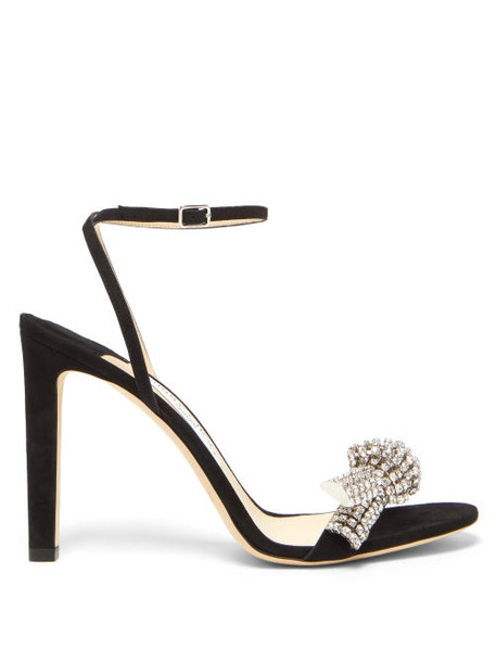 Jimmy Choo - Thyra 100 Crystal-embellished Suede Sandals - Womens - Black