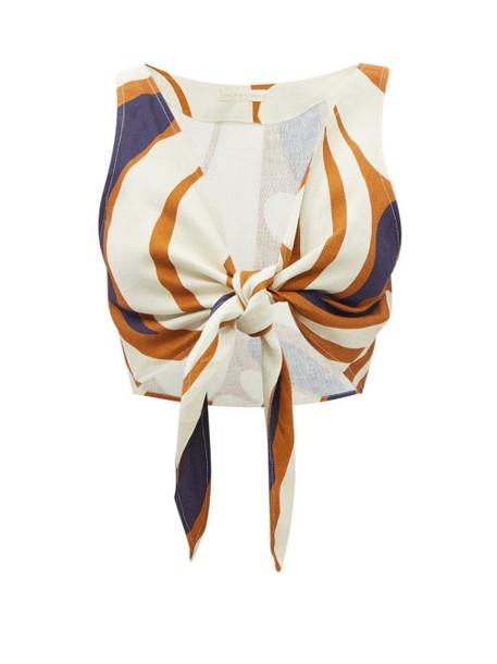 Cala De La Cruz - Lola Tie-front Leaf-print Linen Cropped Top - Womens - Brown Multi