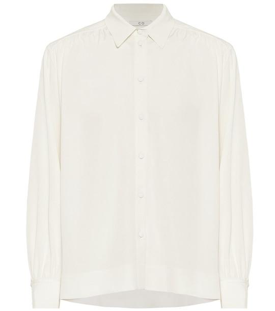 Co Stretch-crêpe blouse in white