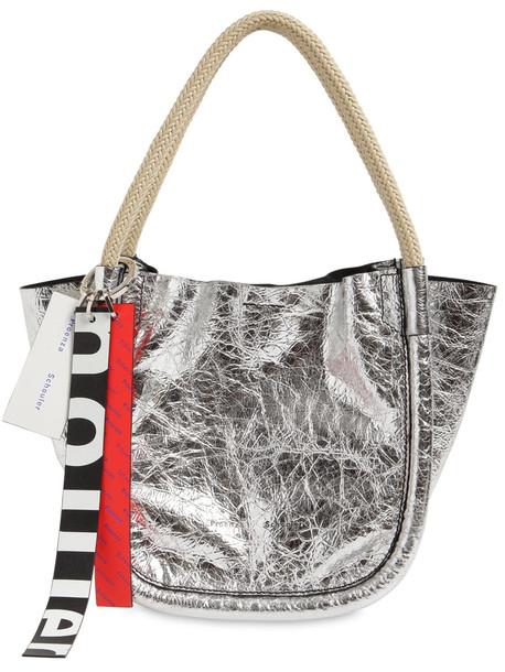 PROENZA SCHOULER Xs Crinkeld Metallic Leather Tote Bag in silver