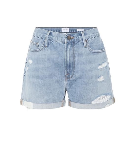 Frame Le Beau distressed denim shorts in blue