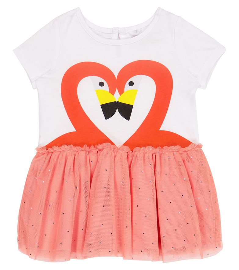 Stella McCartney Kids Baby flamingo jersey and tulle dress in white