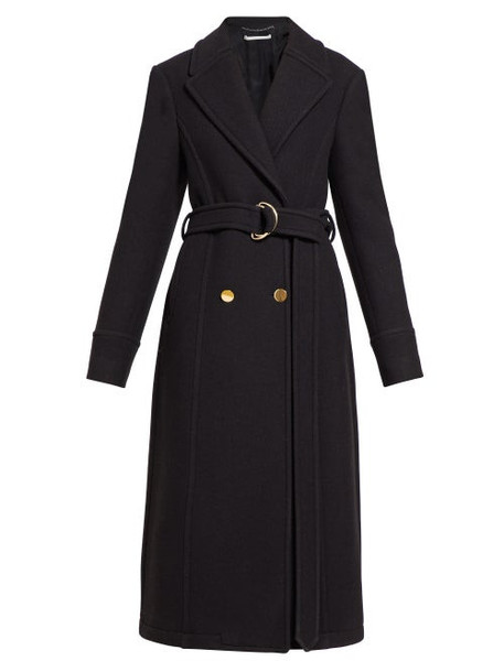 Stella Mccartney - Belted Double Breasted Wool Coat - Womens - Black