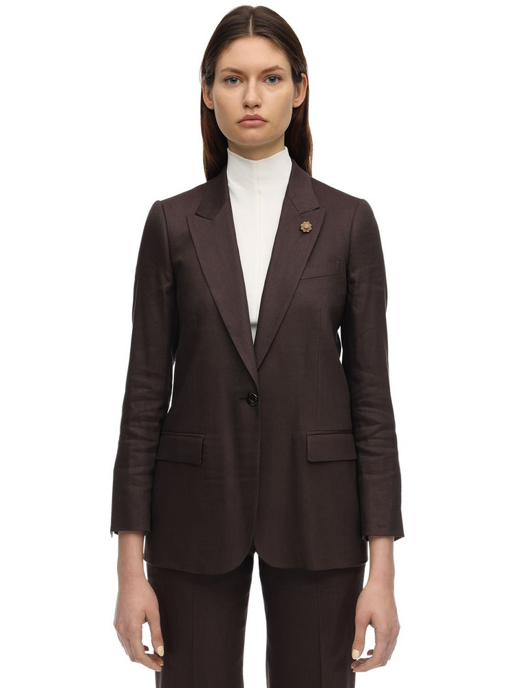 LARDINI Ghiso.u Linen Blazer in brown