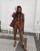 pants,high waisted pants,ankle boots,blazer,brown bag