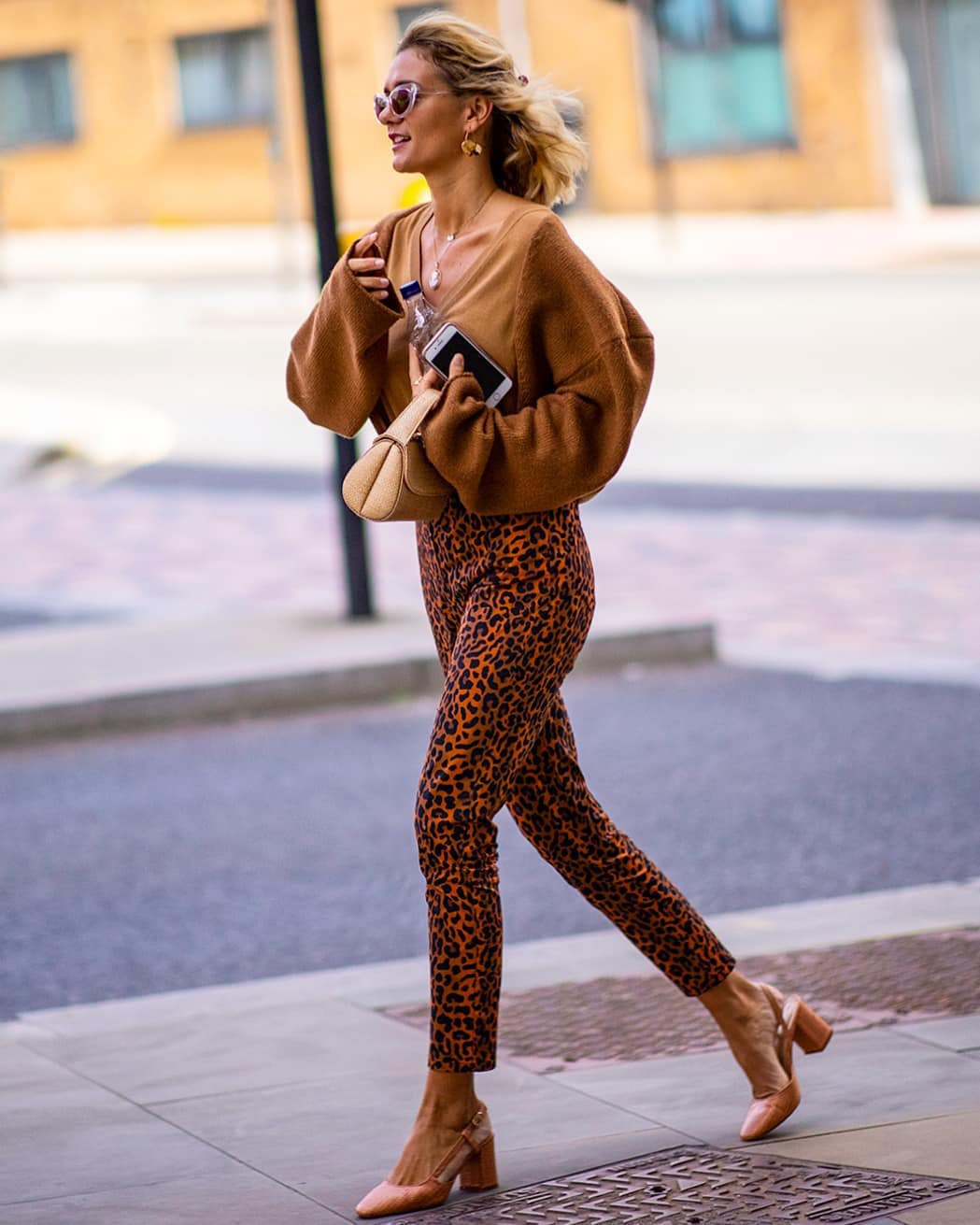 pants leopard print high waisted pants slingbacks oversized sweater v neck handbag