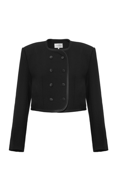 George Keburia Double-Breasted Cropped Cady Blazer Size: S in black
