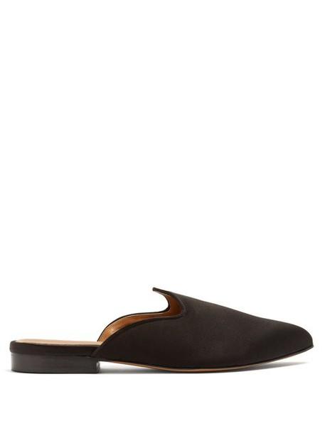 Le Monde Beryl - Venetian Backless Satin Slipper Shoes - Womens - Black
