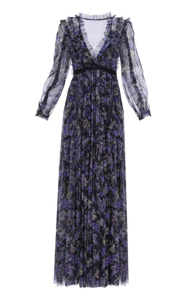 Needle & Thread Lilacs Ruffled Gown in black