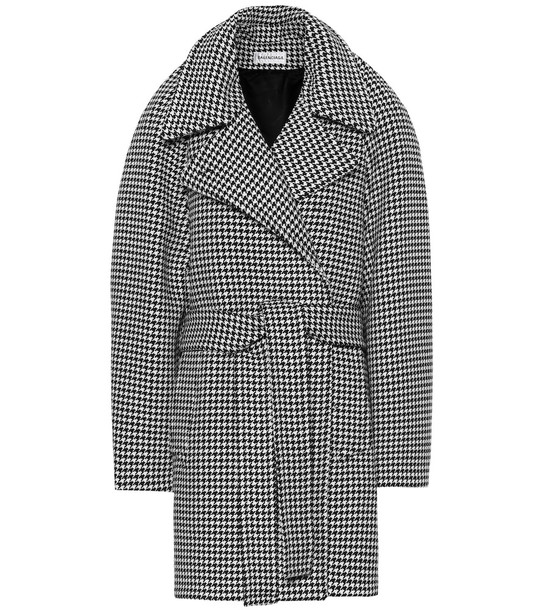 Balenciaga Houndstooth wool and cashmere coat in black