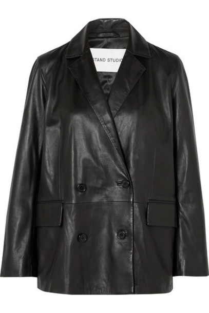 Stand Studio - Pernille Teisbaek Cassidy Double-breasted Leather Blazer - Black