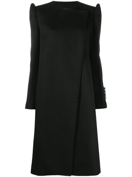 Off-White double-breasted high-shoulder coat in black