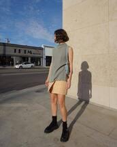 top,striped top,mango,plaid skirt,yellow skirt,mini skirt,black shoes,platform shoes,socks,shoulder bag
