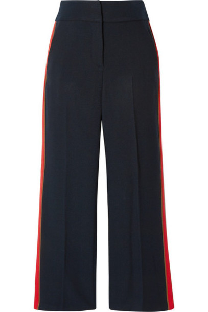 Veronica Beard Cormac Cropped Grosgrain trimmed Herringbone Woven Wide leg Pants Midnight blue