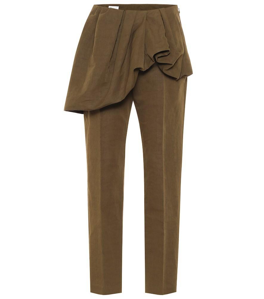 Dries Van Noten Cotton and linen slim pants in green