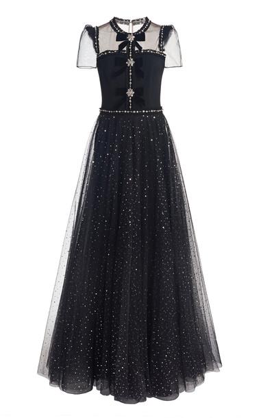 Jenny Packham Embellished Tulle-Crepe Gown in black