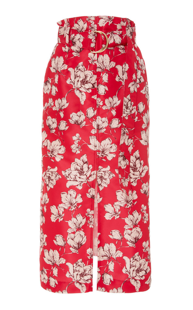 AMUR Odina Belt-Accented Crepe De Chine Midi Skirt in pink