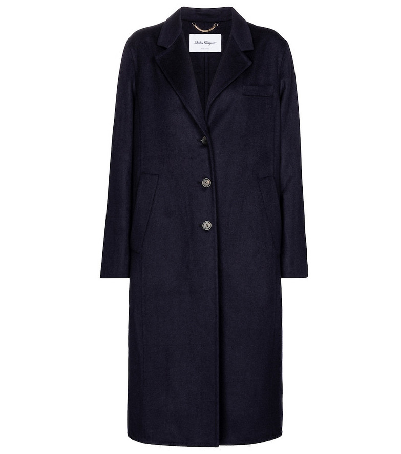 Salvatore Ferragamo Cashmere-blend coat in blue