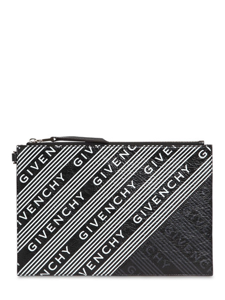 GIVENCHY All Over Logo Print Leather Pouch in black