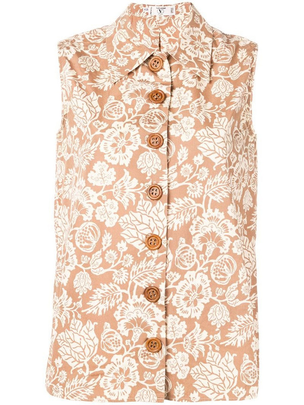 Valentino Pre-Owned 1970's floral print top in neutrals