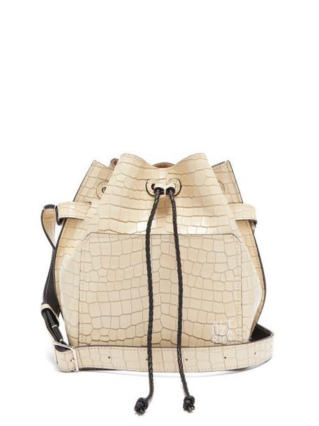 Altuzarra - Espadrille Crocodille Effect Leather Bucket Bag - Womens - Beige Multi