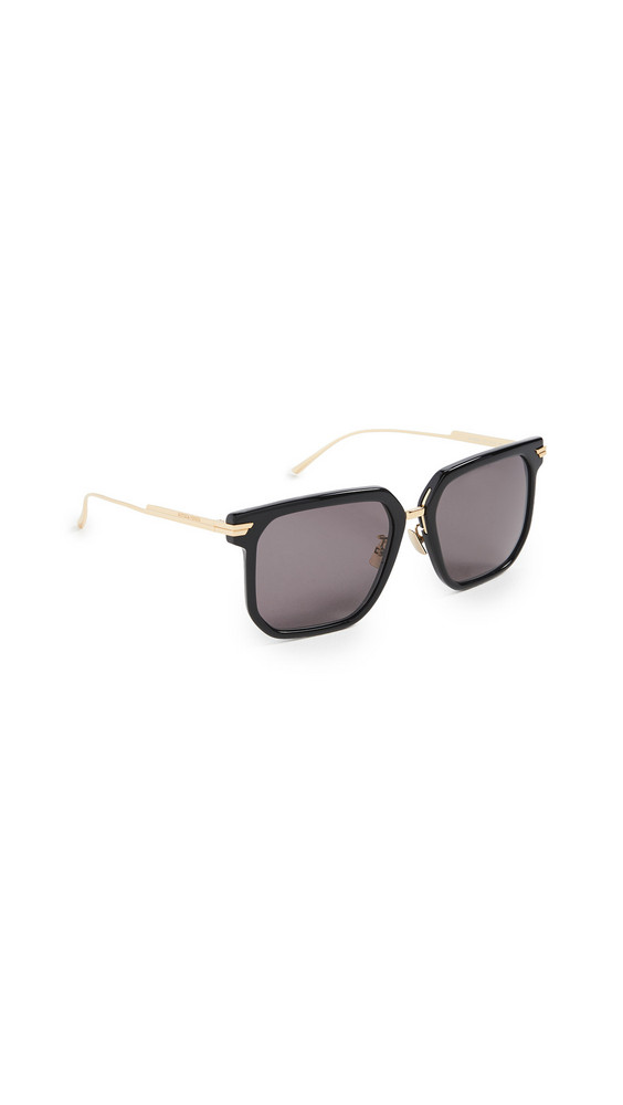 Bottega Veneta Combi Squared Feminine Sunglasses in black / gold / grey