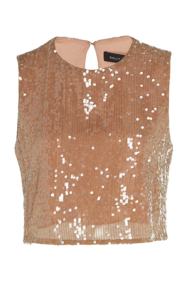 Sally LaPointe Sequined Crepe Top Size: 0 in brown