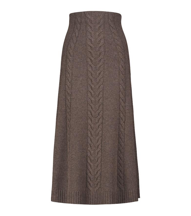 Jonathan Simkhai Jovie wool and alpaca-blend knit midi skirt in brown