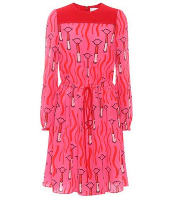Valentino Printed silk dress in pink